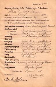 Avgångsbetyget 1917