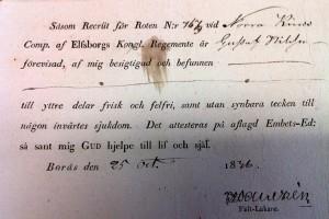 Friskhetsintyg för soldaten Nils Nilsson Från
